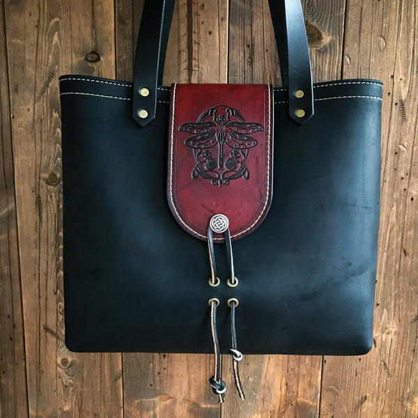THE ALEX TOTE - DRAGONFLY - Dragonfly Art Handmade Fine Leather Handbag Purse Bag
