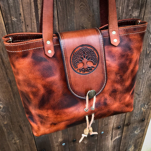 THE ALEX TOTE -  TREE OF LIFE - Embossed Tree Of Life Art Handmade Fine Leather Handbag Purse Bag