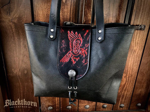 THE ALEX TOTE - CELTIC RAVEN - Hand Painted Embossed Handmade Fine Leather Handbag Purse Bag