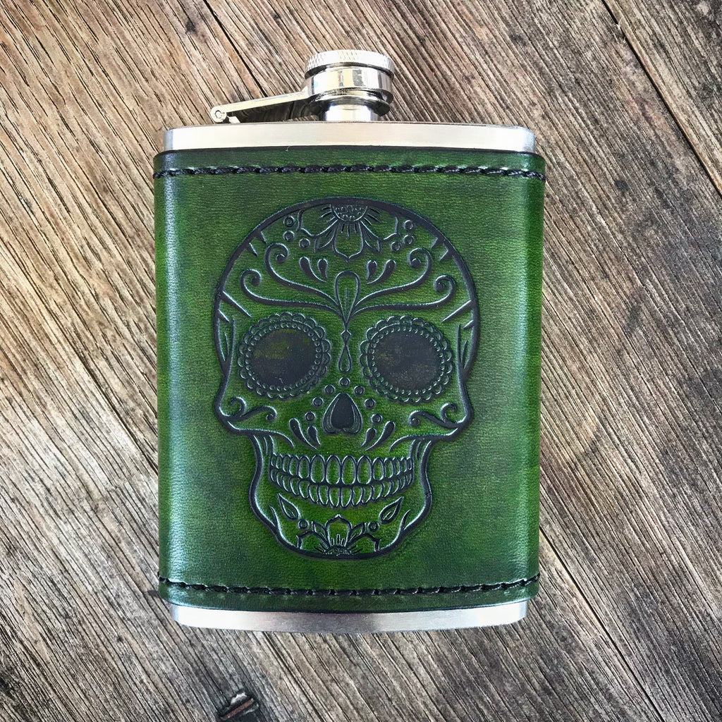 Leather Wrapped Flask with Sugar Skull
