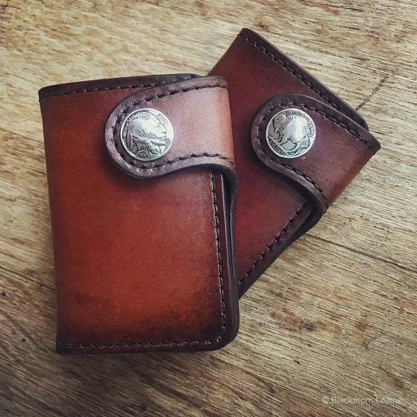 THE GALWAY: Vertical Snap Wallet - Indian Head Buffalo Nickel