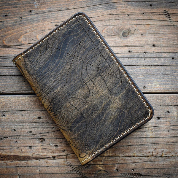 Topographic Map Leather Field Notes Cover - BROWN CRAZYHORSE