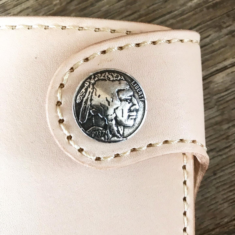 THE GALWAY: Natural Veg Tan Vertical Snap Wallet - Indian Head Buffalo Nickel