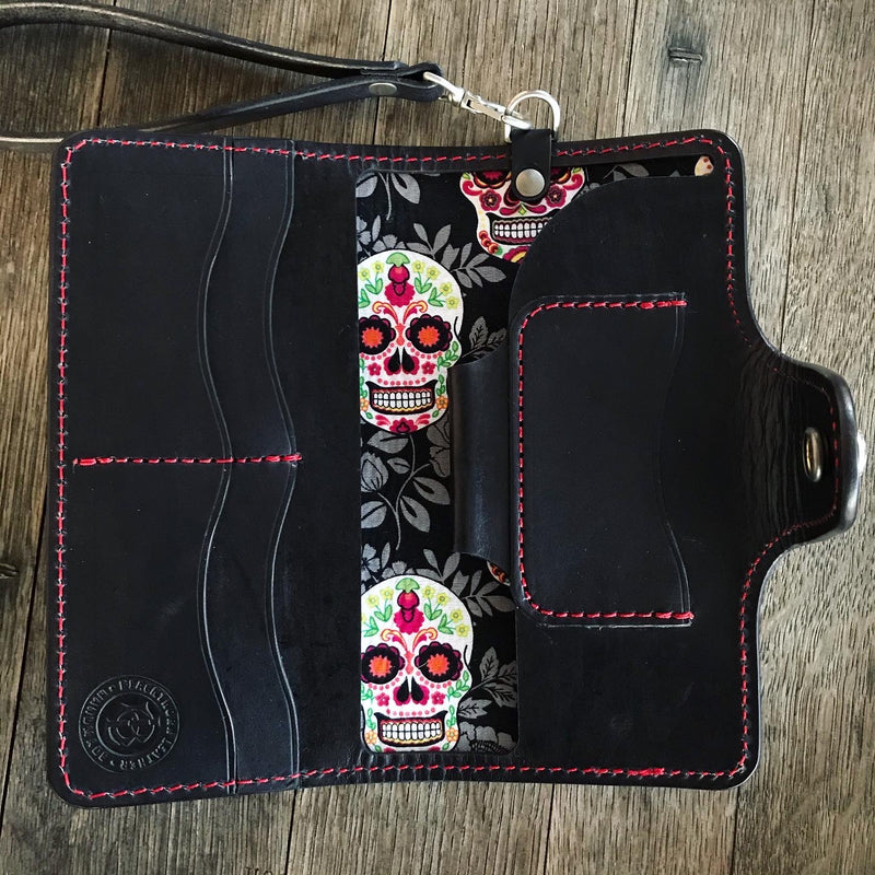 Sugar Skull Large Clutch Wallet with Wristlet - Black w/Sugar Skull liner