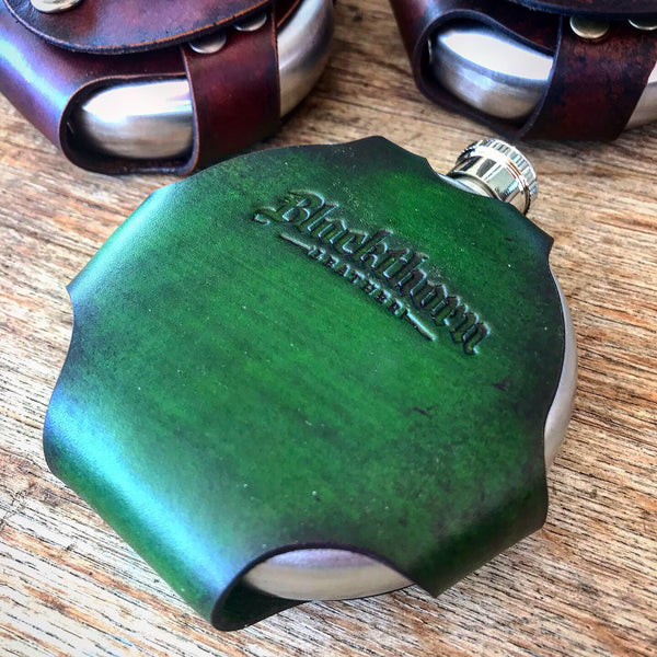 Round Leather Wrapped Flask