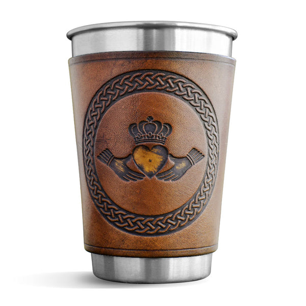 Leather Wrapped Pint - CLADDAGH