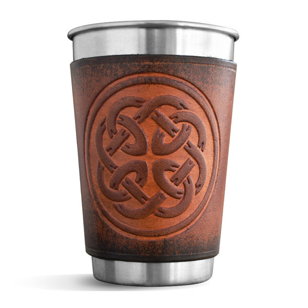 Leather Wrapped Pint - FATHERHOOD KNOT