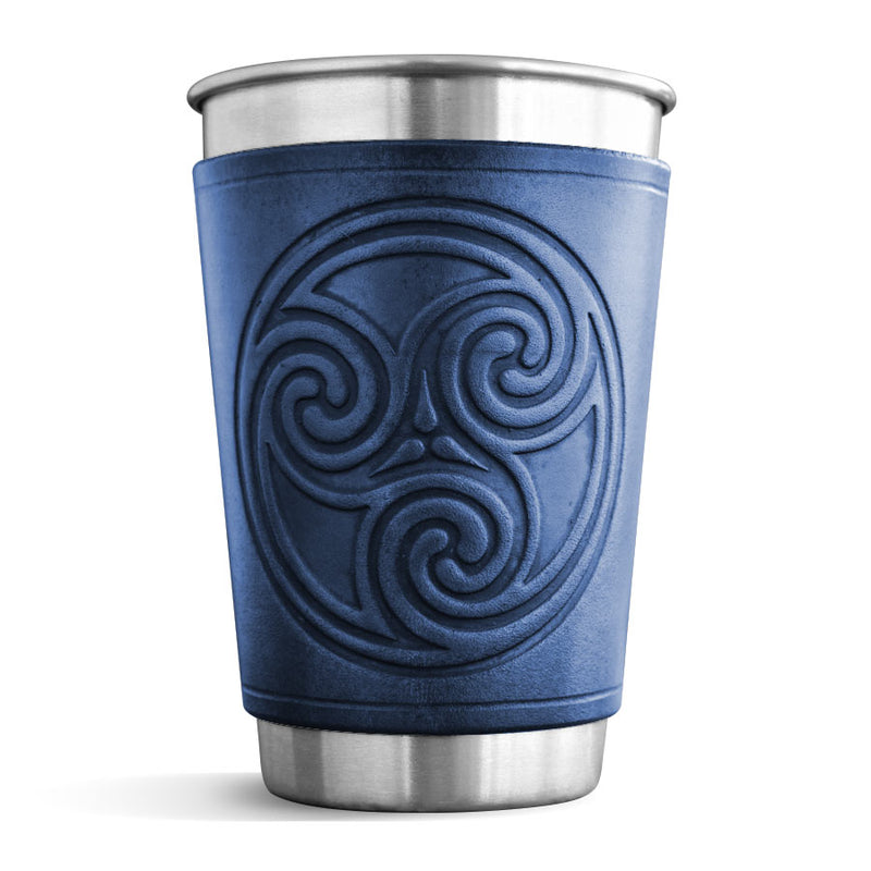 Leather Wrapped Pint - TRISKEL SPIRAL