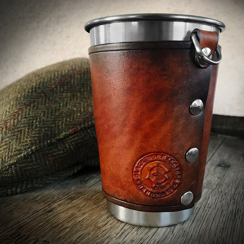 Leather Wrapped Pint - LION RAMPANT