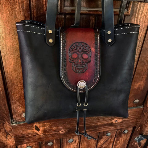 THE ALEX TOTE - SUGAR SKULL - Embossed Sugar Skull Art Handmade Fine Leather Handbag Purse Bag
