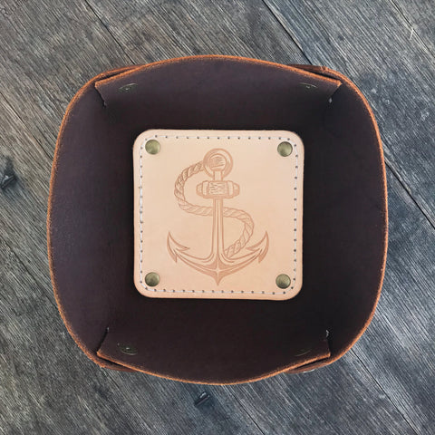 Leather Valet Tray, Leather Catch All, Custom Leather Tray - ANCHOR TATTOO