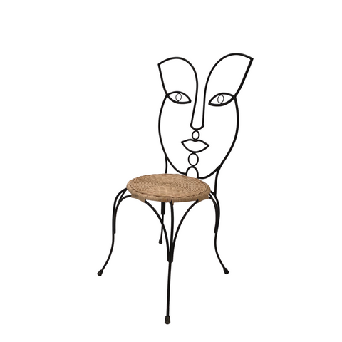 Female Iron & Rattan Chair
