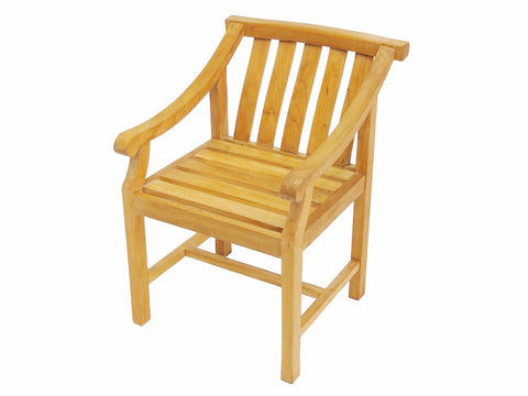 Solid Teak outdoor dining chair with curved back detail by The Teak Place