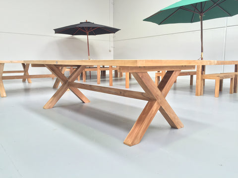 Cross Leg Rectangular Tables - The Teak Place