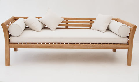 Ipanema Teak Daybed, seat cushion and scatter cushions - The Teak Place