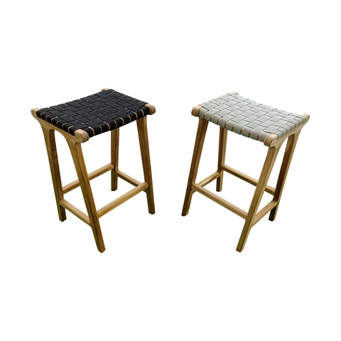 Coady Teak & Woven Sunproof Strapping  Bar Stool