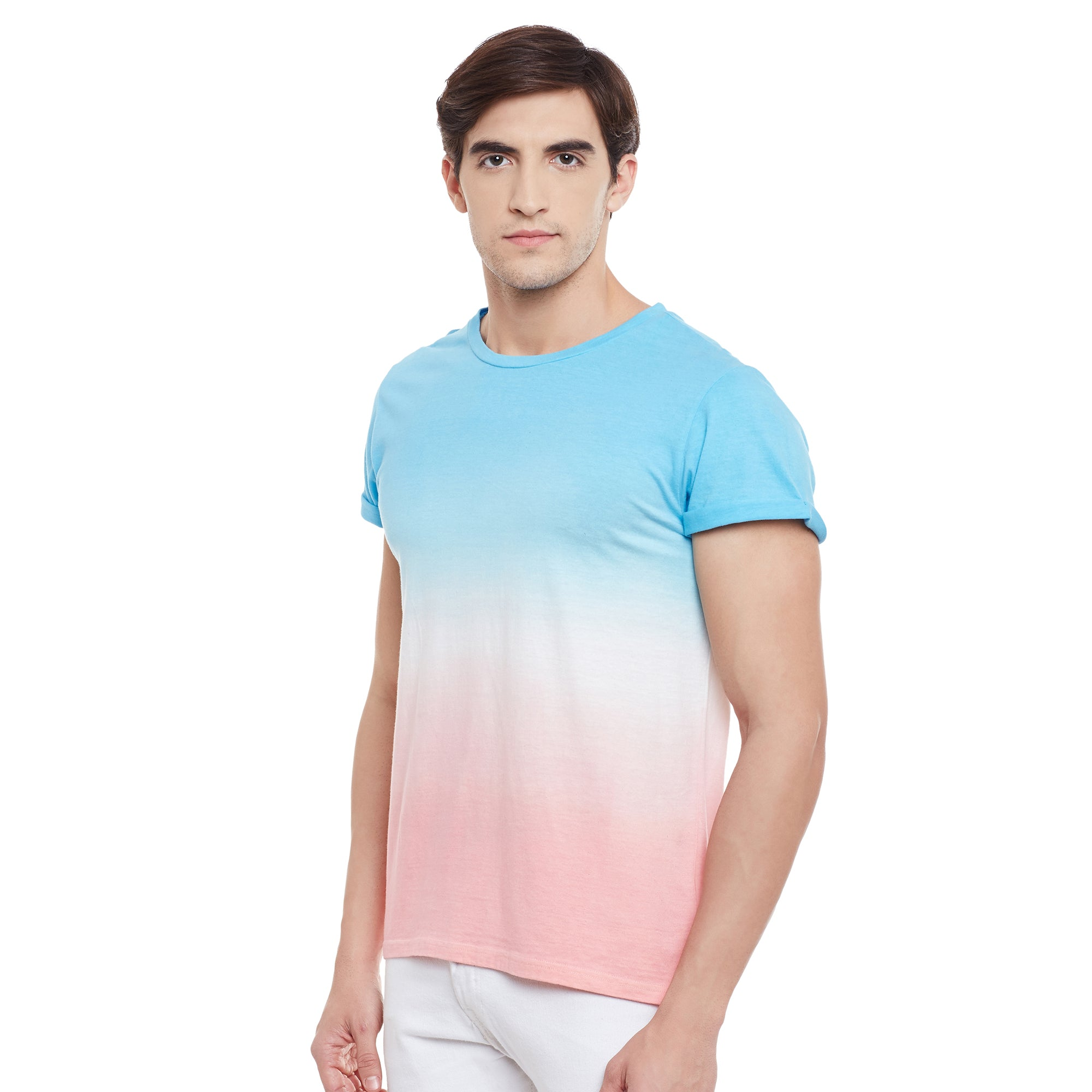 Atorse Mens Half Sleeve T-shirt Ombre Dyed
