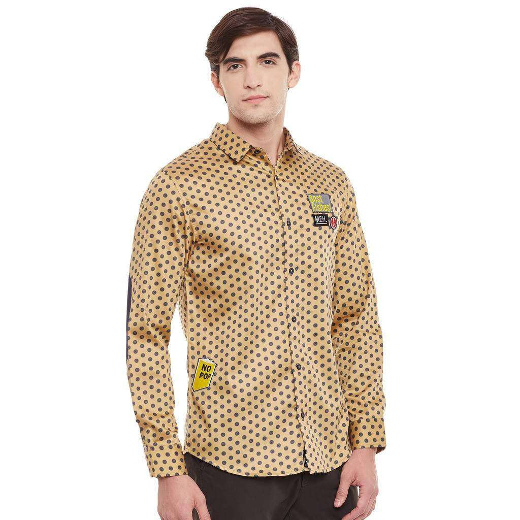 Atorse Mens Full Sleeve Shirt Printed with Badge details