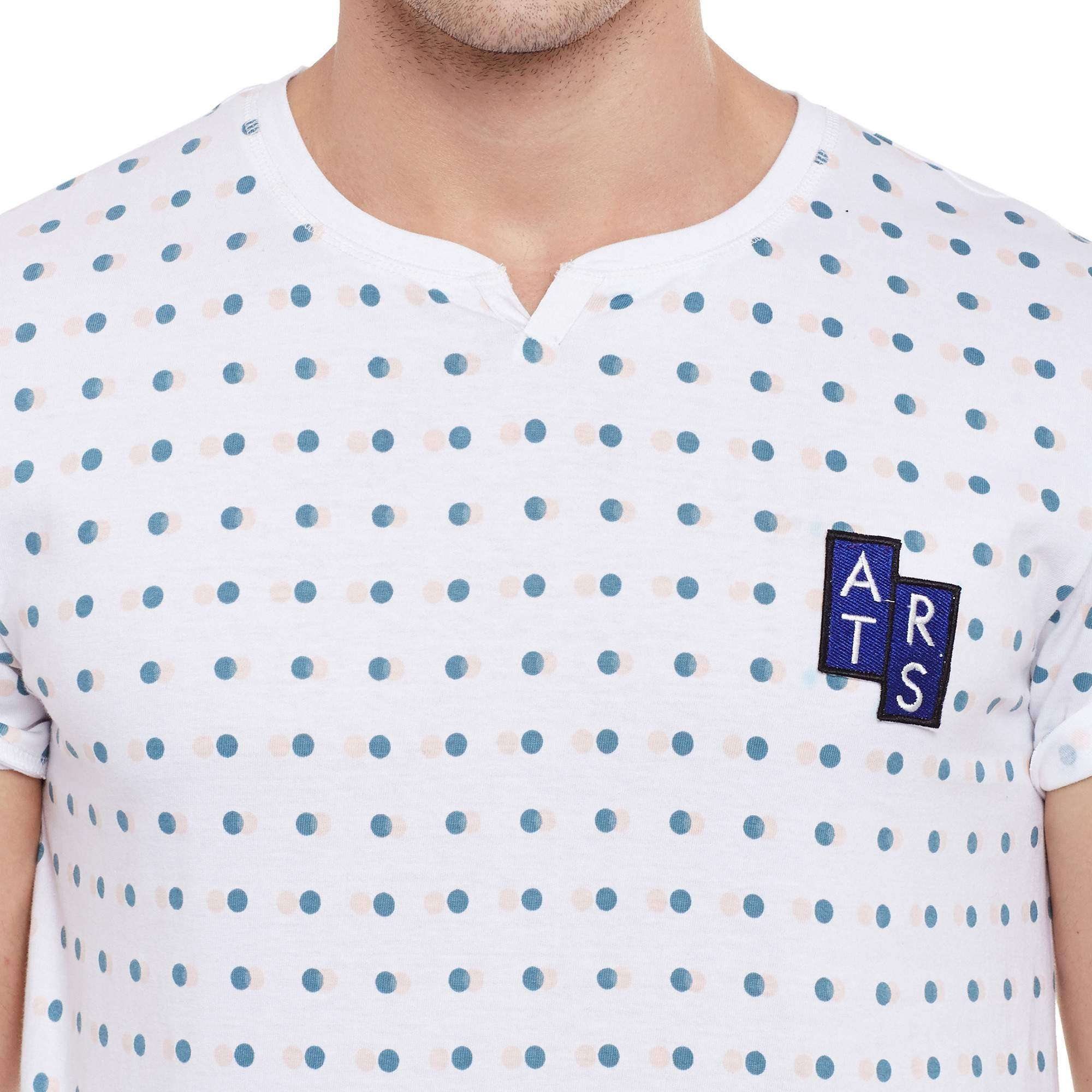 Atorse mens half sleeve t-shirt with polka dot printed allover with neck details