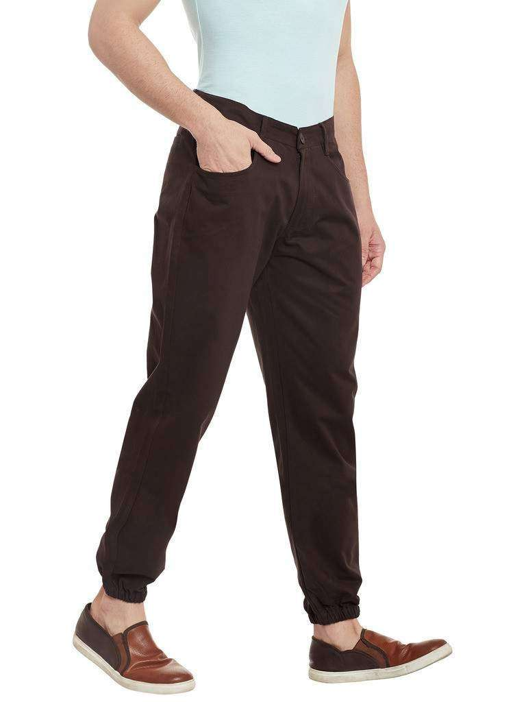 Atorse Mens Joggers Pants in Chocolate Brown Colour
