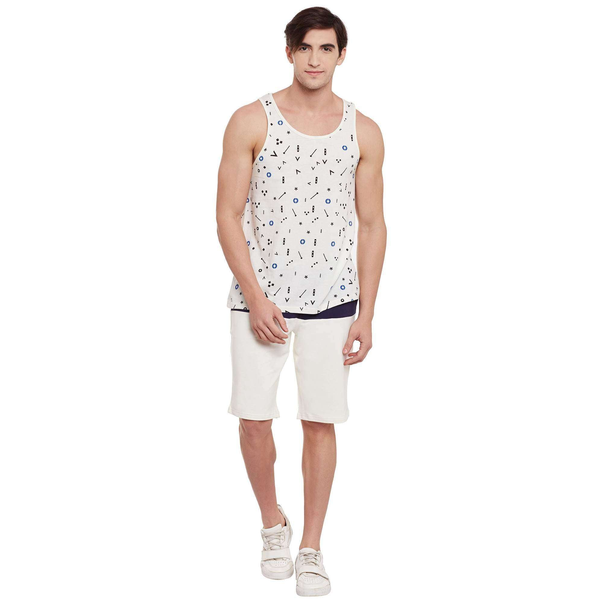 Atorse Mens Sando with Musical Note Printed Allover White
