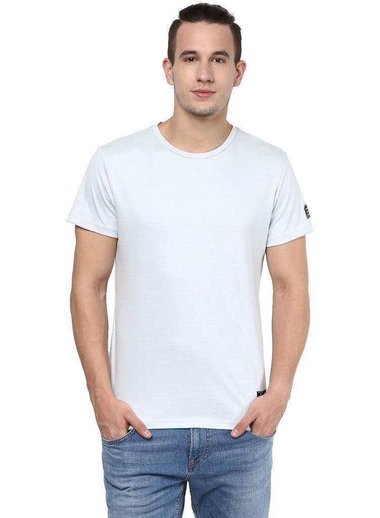 Basic Round Neck Geen and White Casual Tee