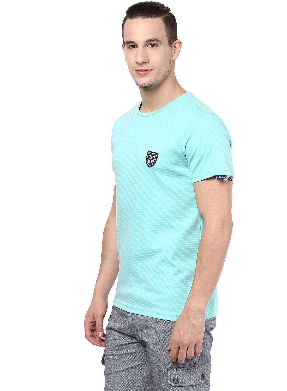 Basic round neck Green Casual tee