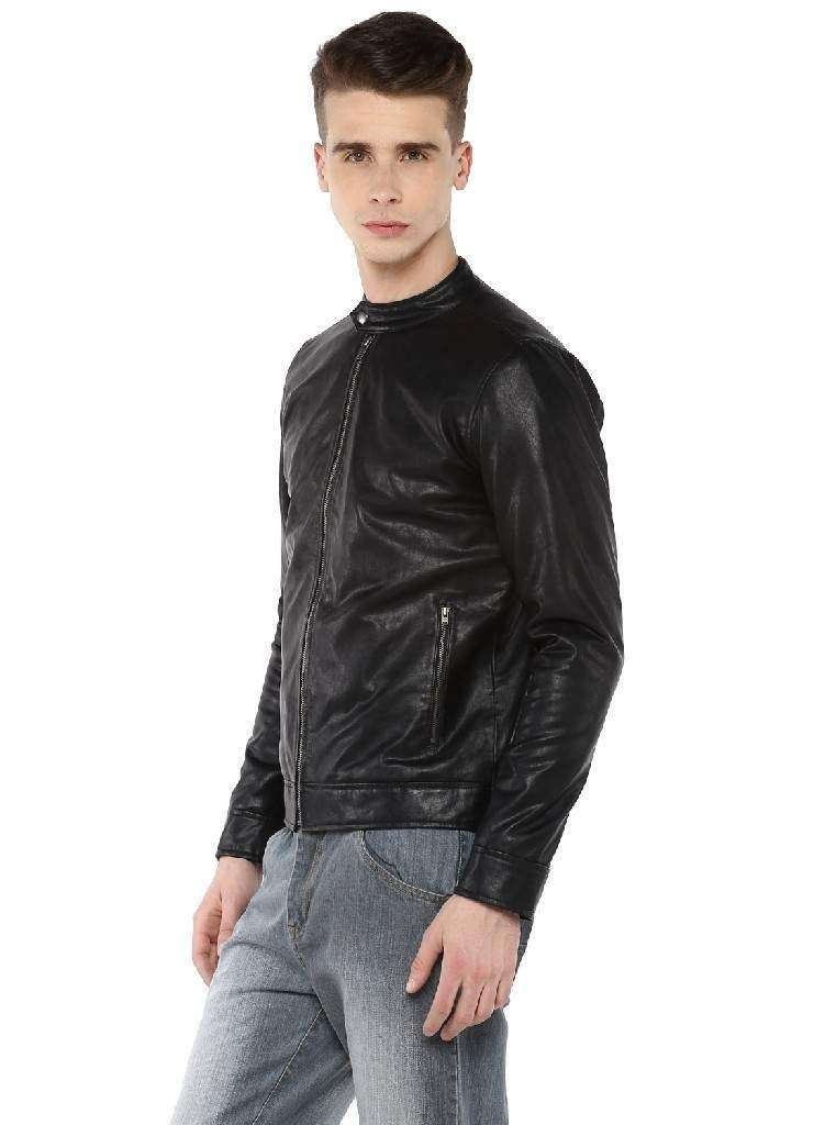 Black Faux Leather Biker Quilted Jacket