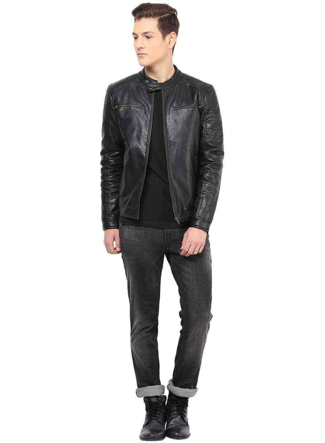 Black Faux Leather Quilted Biker  Casual Jacket
