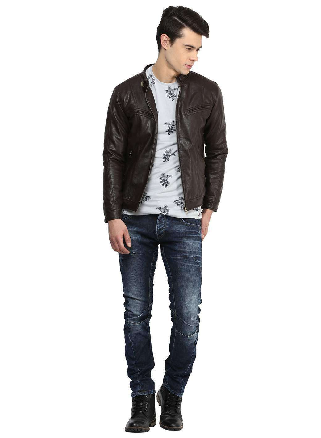 Brown Faux Leather Casual  Biker Jacket