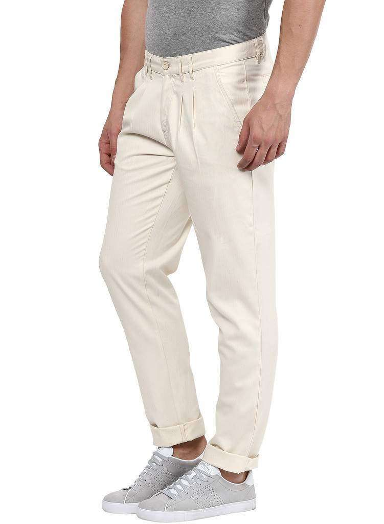 Cream self Design Casual Trouser Pants