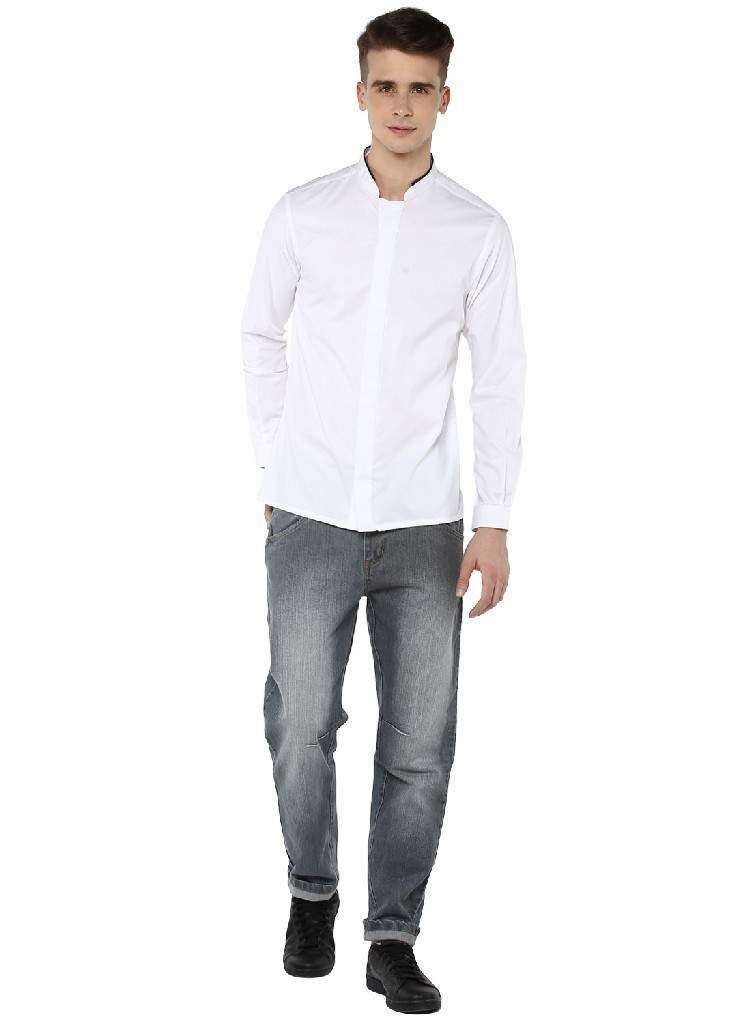 Full sleeve shirt with  Band collar with concealed placket
