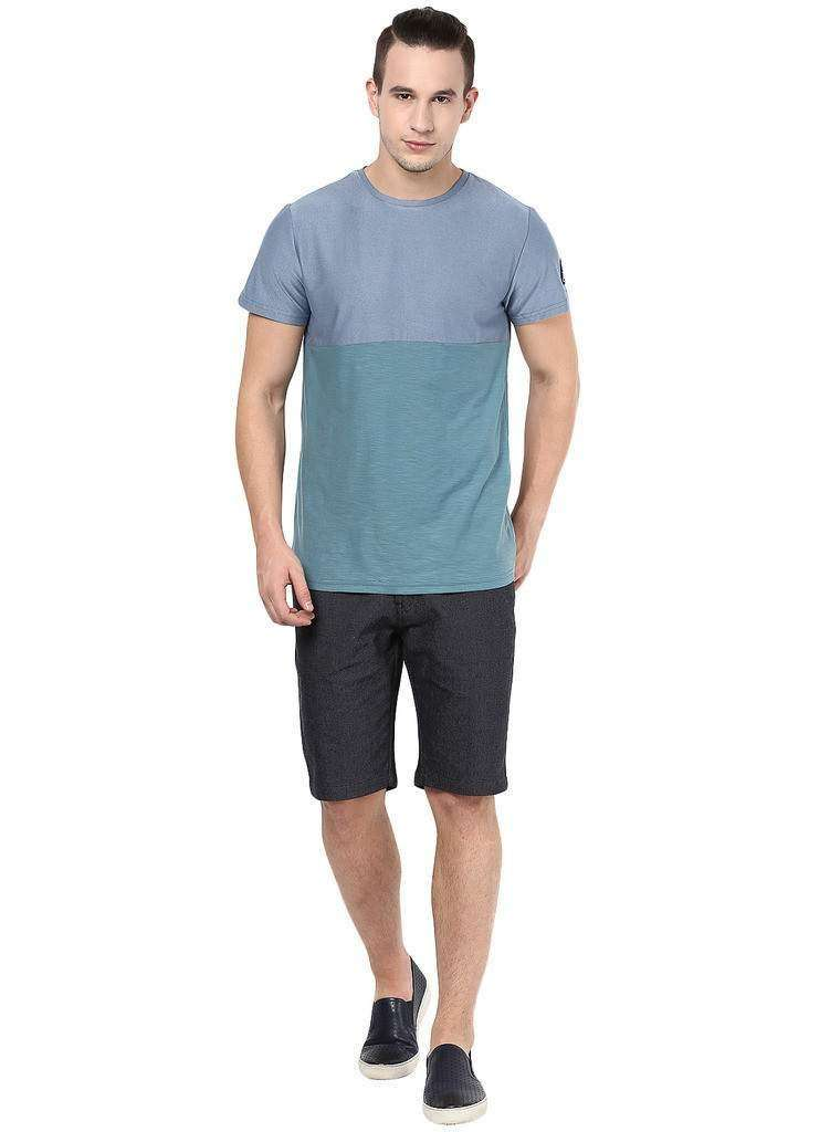 Half Cut N Sew Round Neck Blue and Green Casual Tee