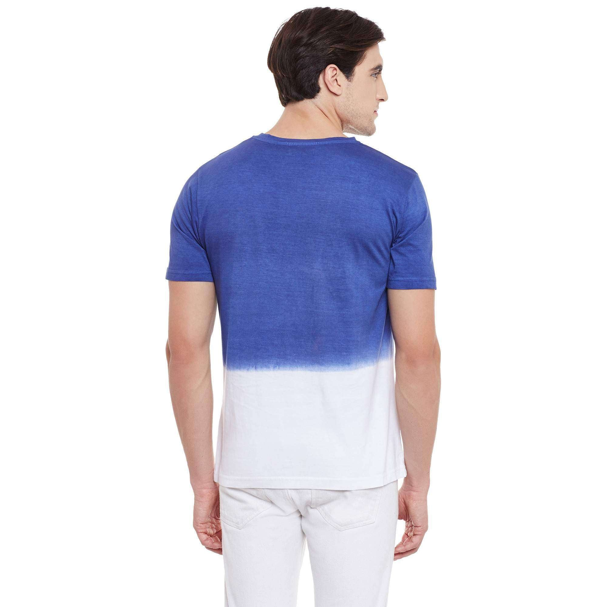 Half Sleeve T-shirt Ombre Dyed with Chest Print Indigo & Ivory