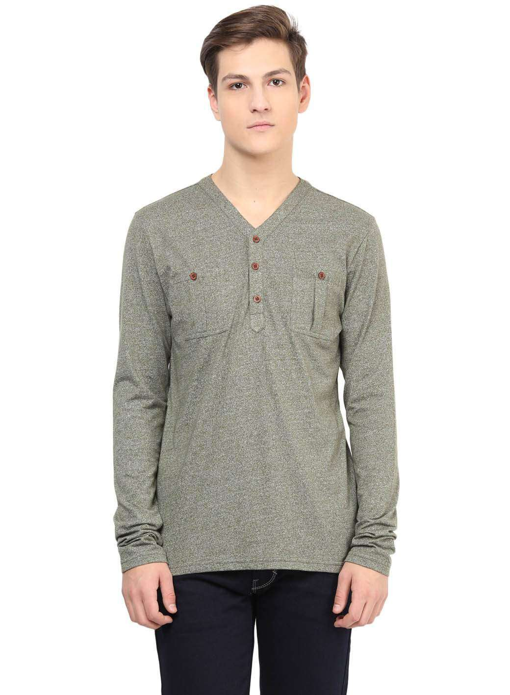 Olive Green Grindle Casual Front pocket Full sleeve T-shirt
