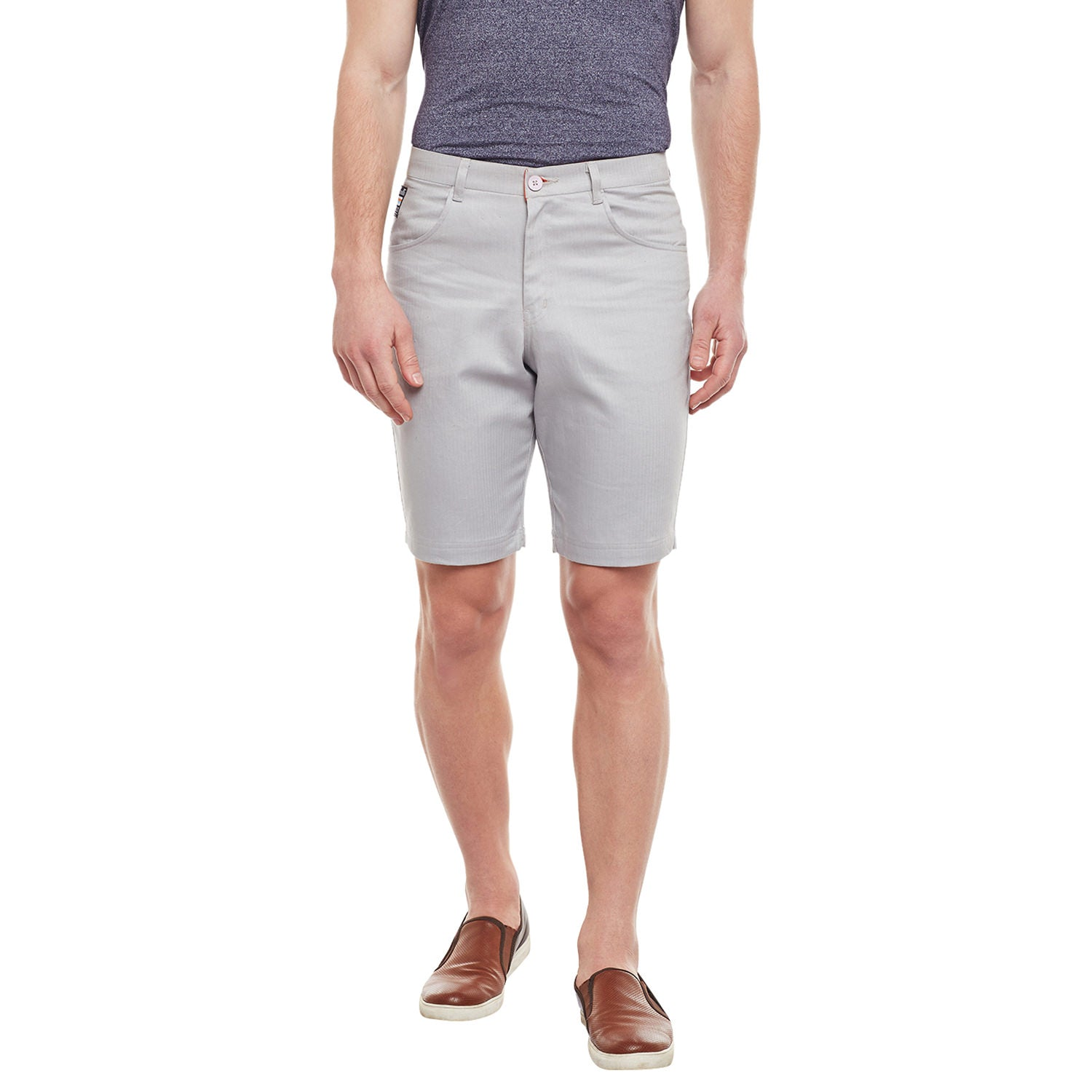 Atorse Mens Light Grey Solid Woven Cotton Shorts