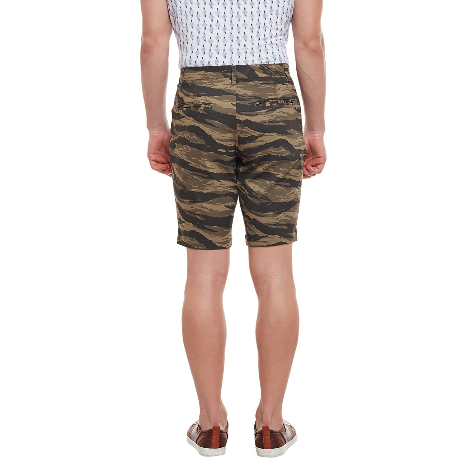 Atorse Mens Olive Green Camo Printed Woven Cotton Shorts