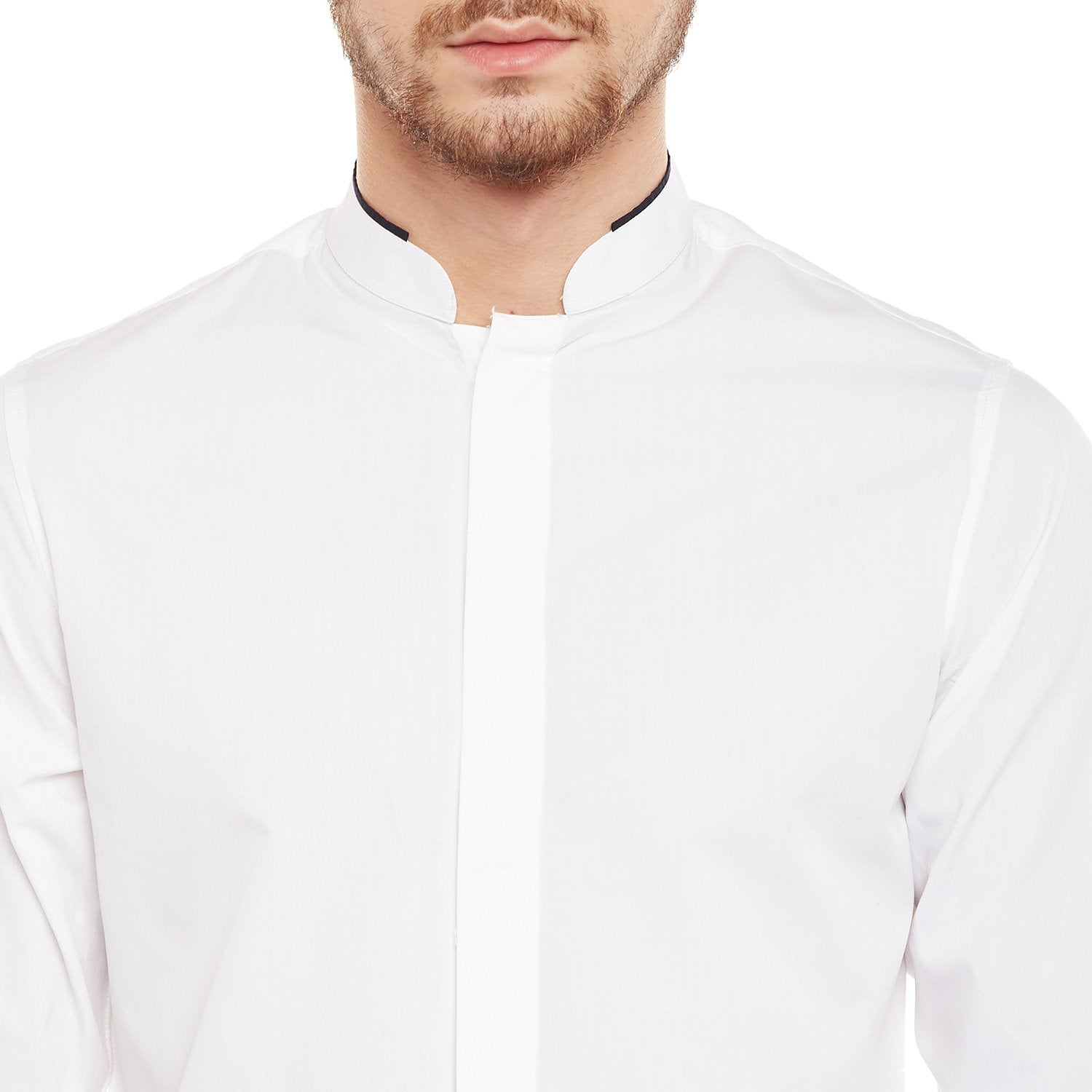 Atorse Mens Full Sleeves Shirt With Band Collar With Conceal