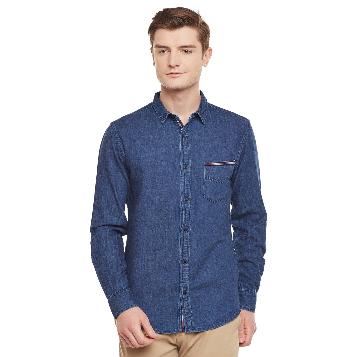 Atorse Mens Classic Pocket Shirt With Tape Detail