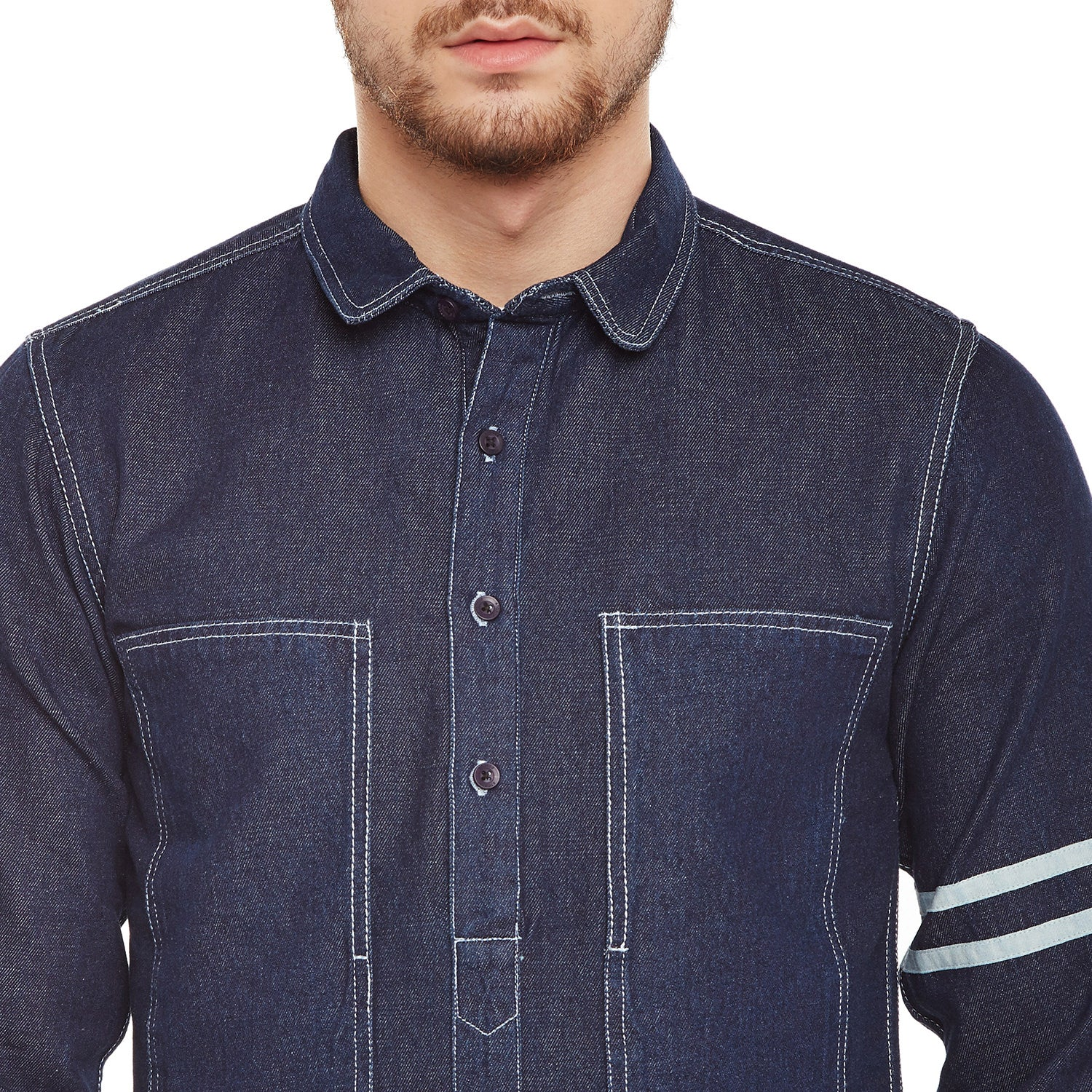 Atorse Mens Long Placket And Sleeves With Thick Cotton Tape Detail