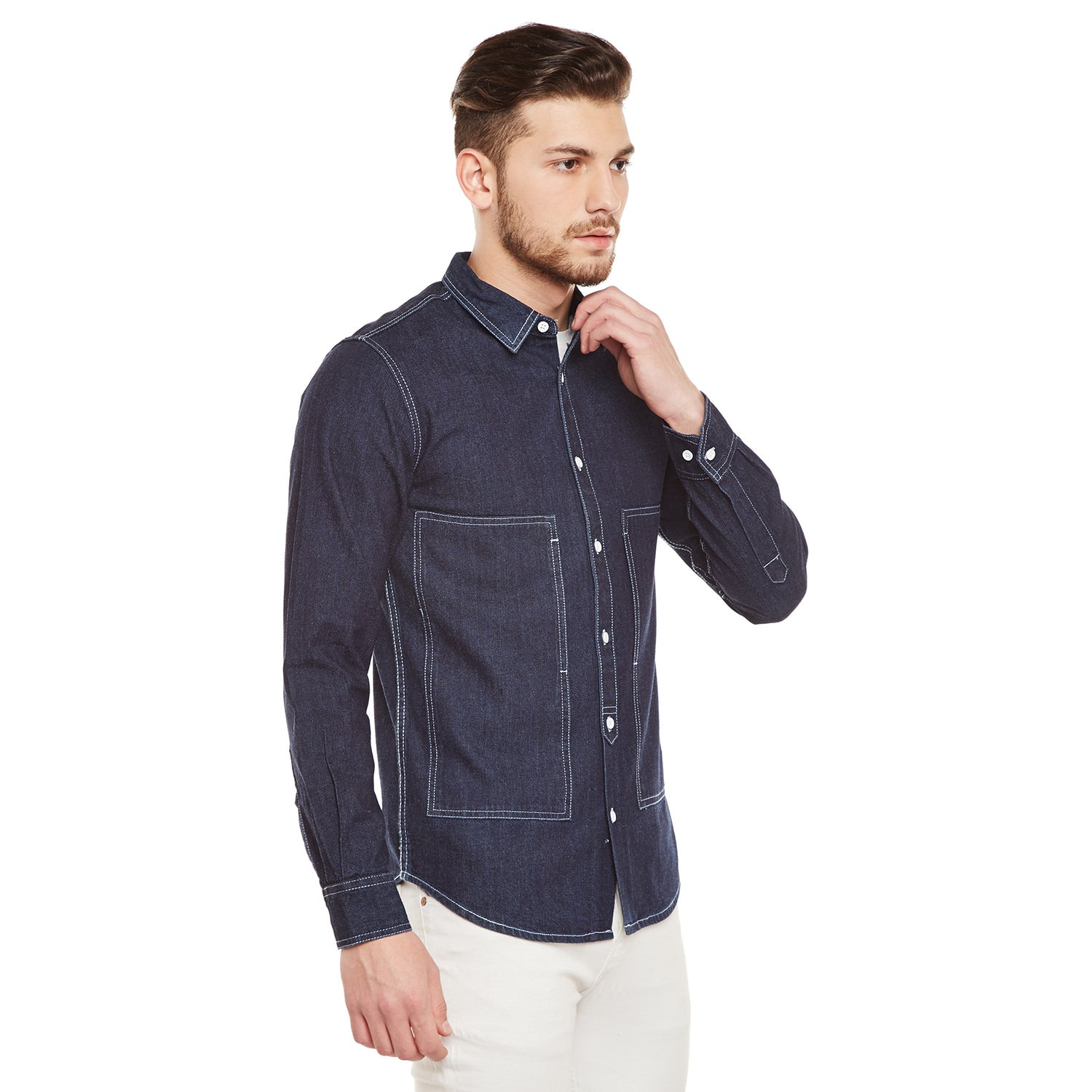 Atorse Mens Enzyme Washed Denim Shirt Low Pockets With Side Opening