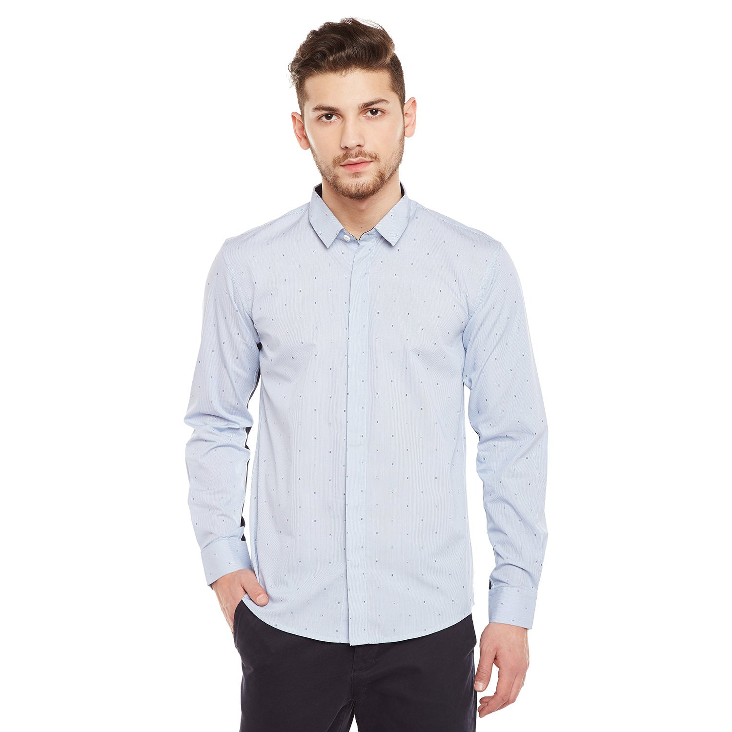 Atorse Mens Full Sleeves Shirt With Engineered Print Details