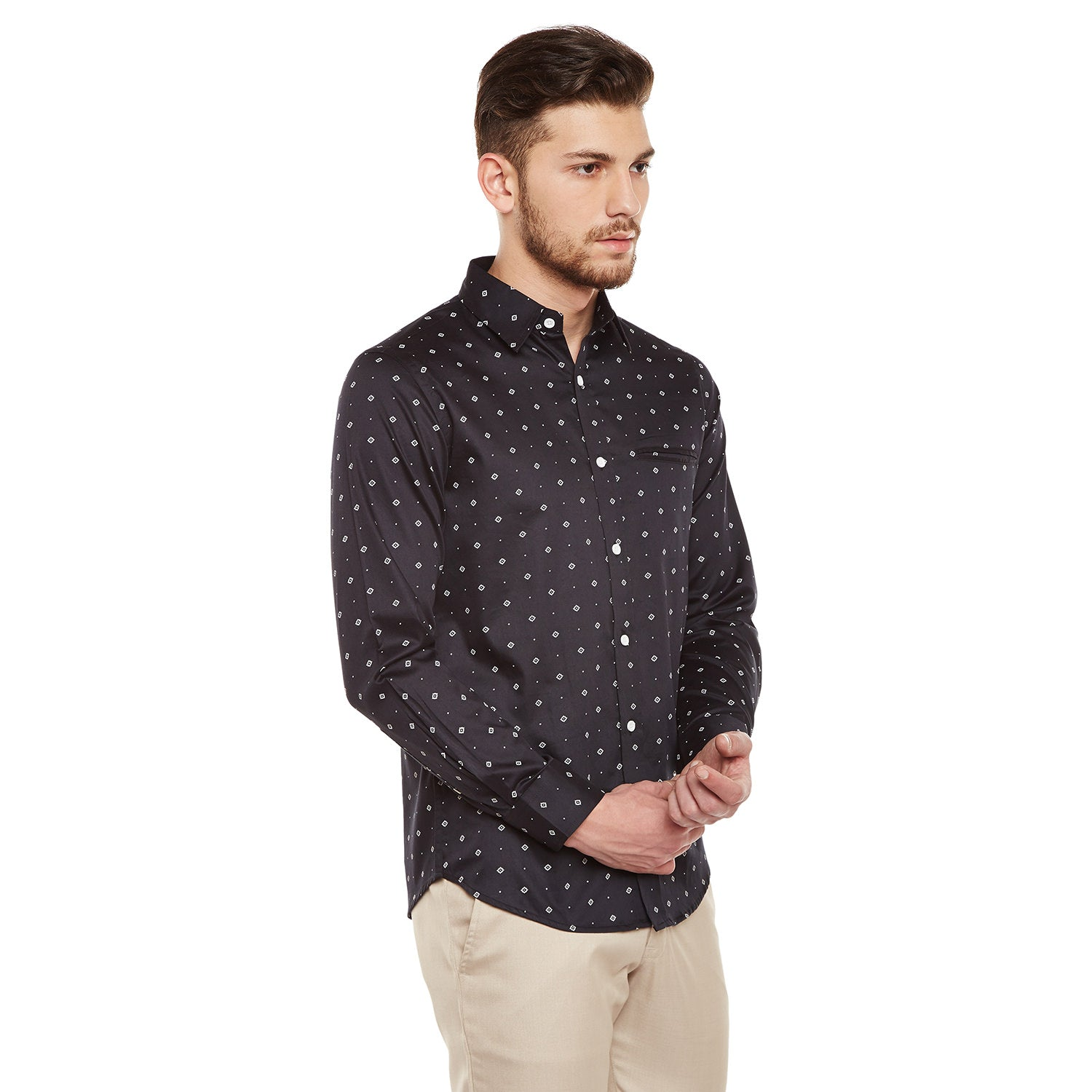 Atorse Mens Full Sleeves Raglan Shirt With Micro Prints