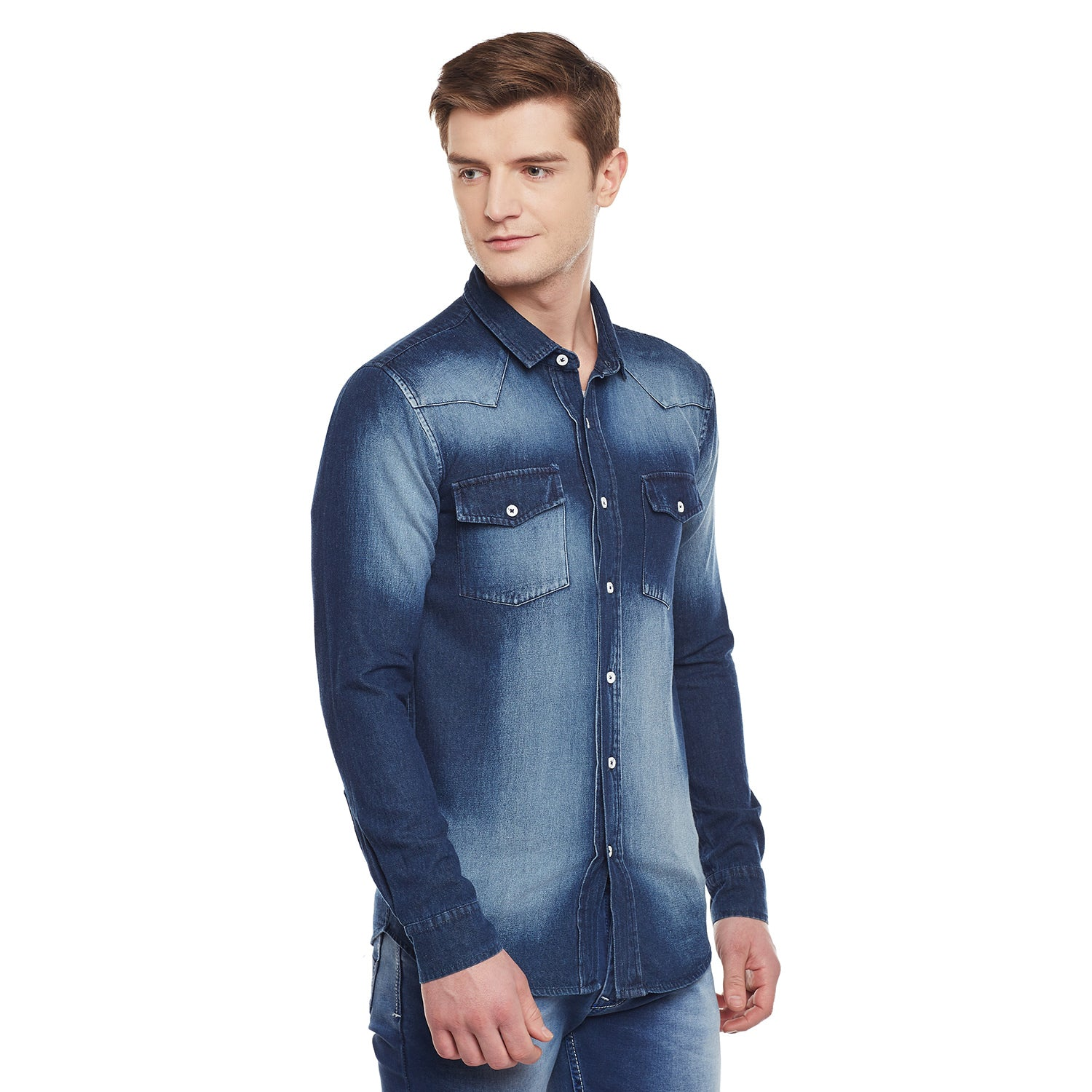 Atorse Mens Full Sleeve Denim Shirt With Abstract Denim Wash
