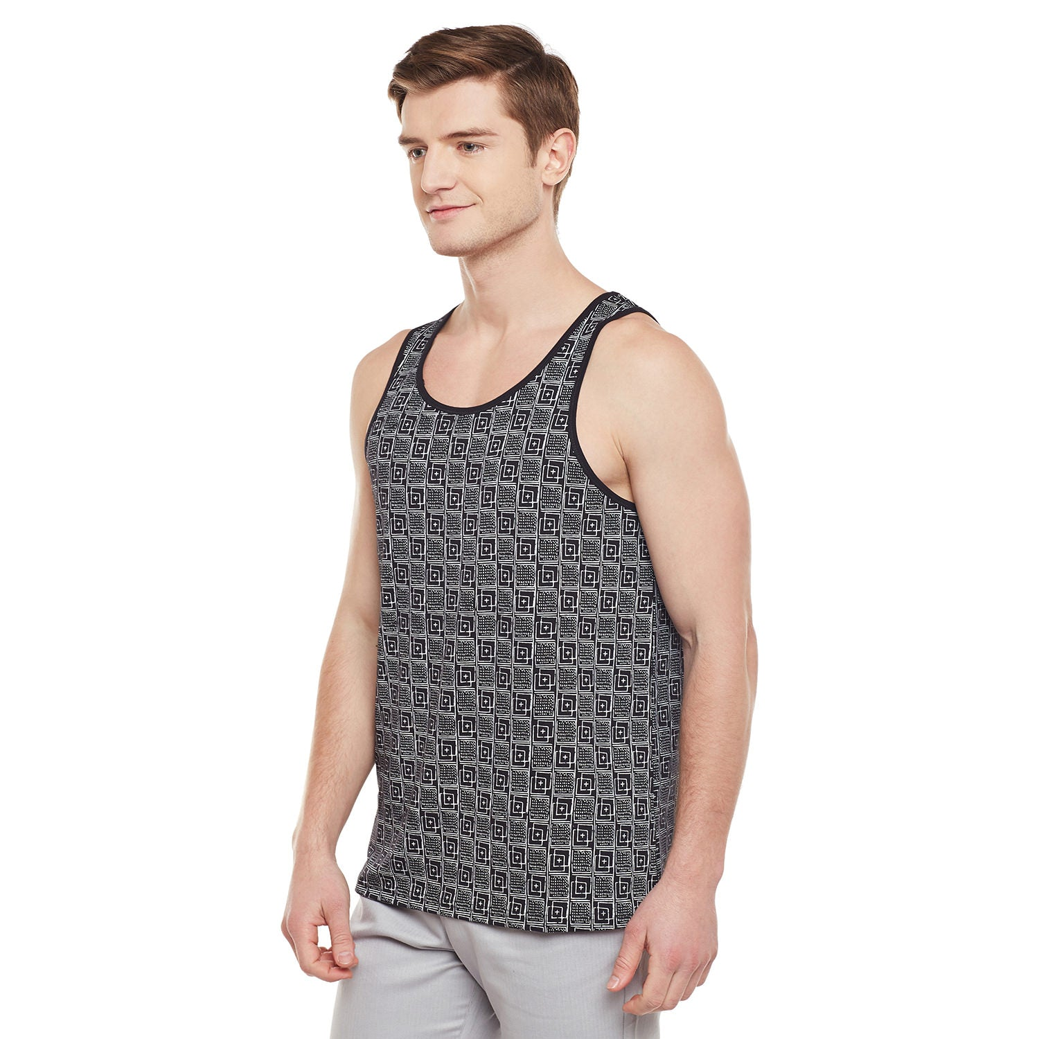 Atorse Mens Casual Printed Black Sando