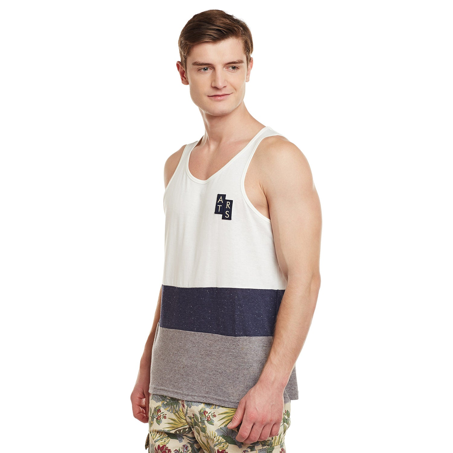 Atorse Mens Multi Sando Cut N Sewn And Embroidered Badge With Contrast Piping