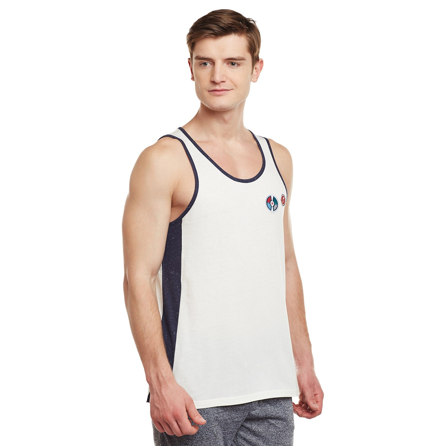 Atorse Mens White Sando Cut N Sewn And Embroidered Badge With Contrast Piping