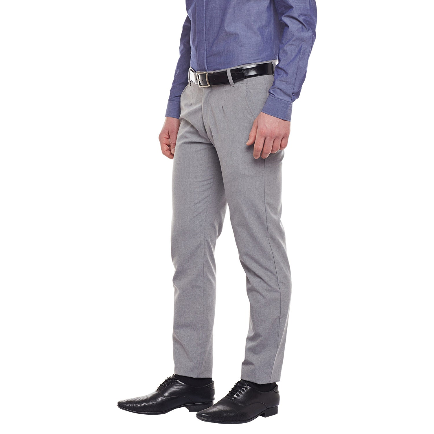 Atorse Mens Solid Grey Regular Fit Side Pocket Trouser