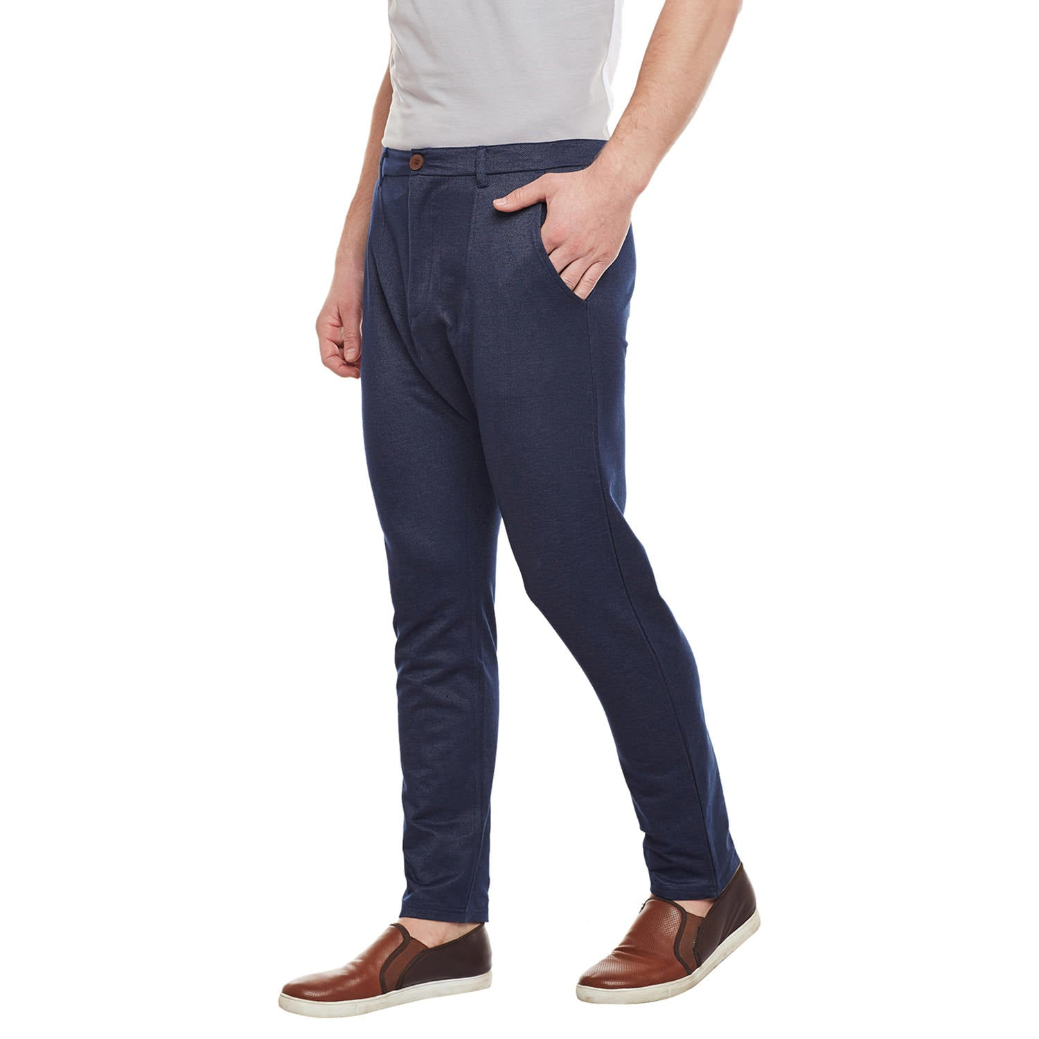 Atorse Mens Navy Blue Cotton Trouser