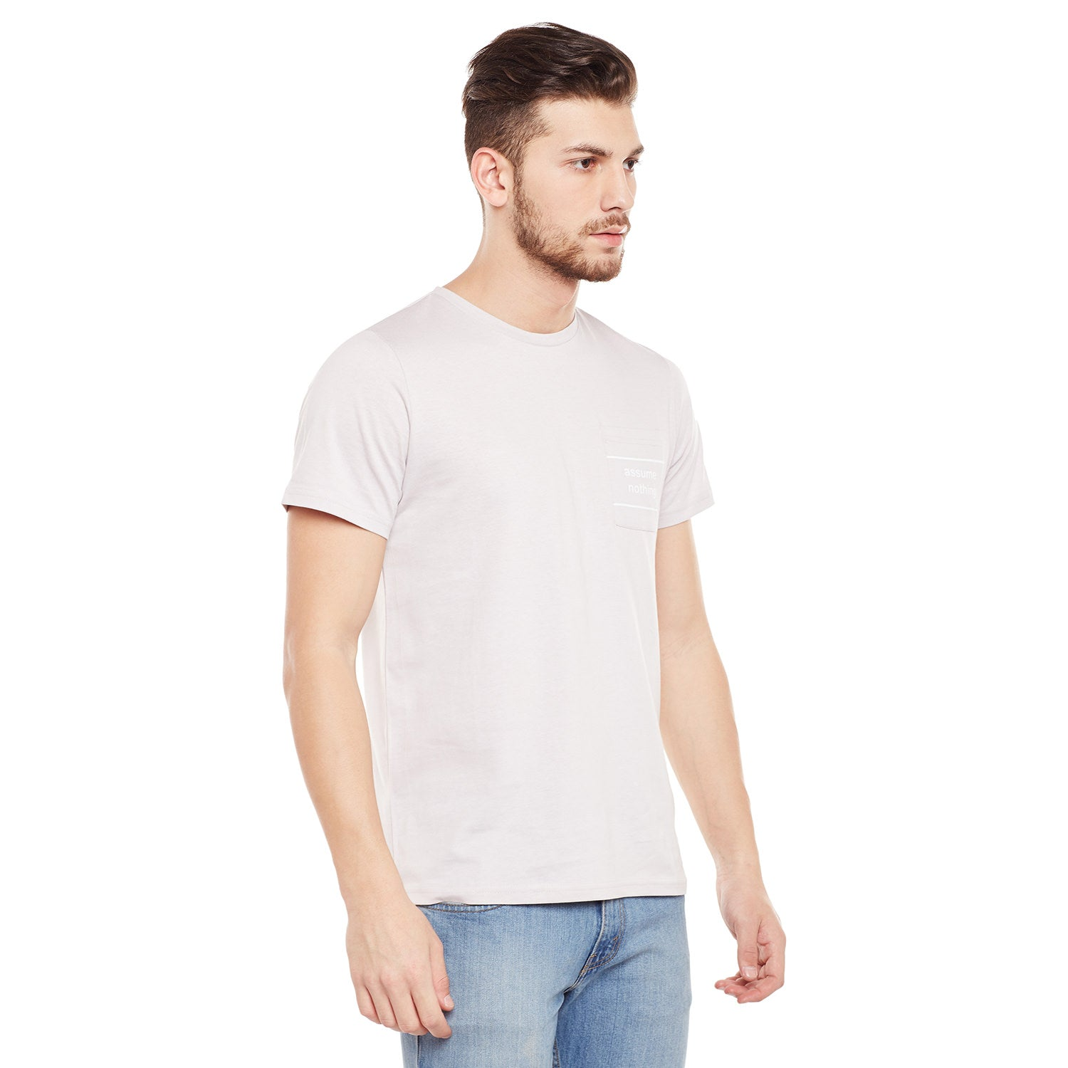 Atorse Mens Half Sleeves T-Shirt Ombre Dyed With Chest Print